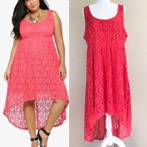Torrid lace  coral color high low dress
